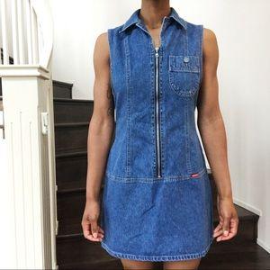 1990's Vintage Sleeveless Denim Mini Dress